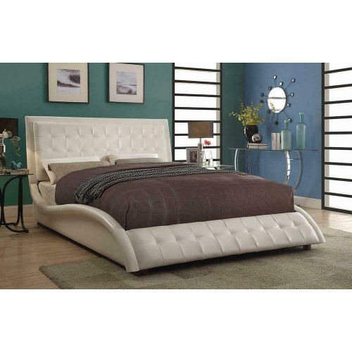 Tully Transitional White Upholstered Queen Bed