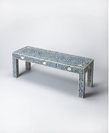 This classically designed bench will be a delight in any entryway or bedroom. With a botanic motif bone inlay over a blue background this bench will be a treasured piece for any user.