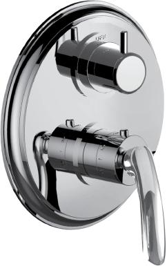 """1/2"""" Thermostatic Trim With Volume Control and 3-way Diverter in Satin Nickel"""