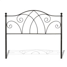 Deland Metal Headboard with Curved Grill Design and Finial Posts, Brown Sparkle Finish, Queen