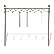 Argyle Headboard with Round Finial Posts and Diamond Wire Metal Grill Design, Copper Chrome Finish, Queen