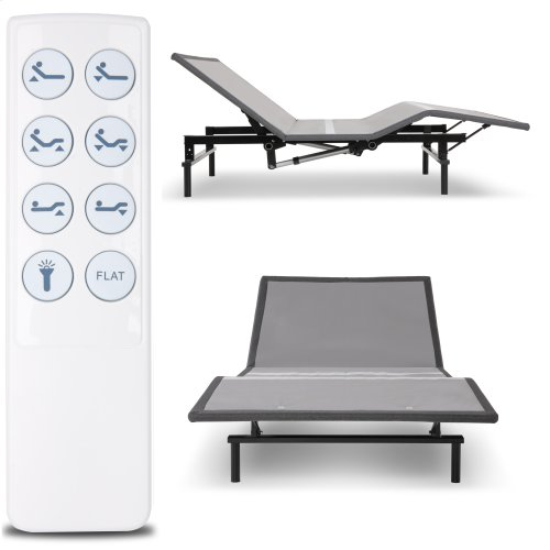 Raven Low-Profile Adjustable Bed Base with Simultaneous Movement and Wireless Flashlight Remote, Charcoal Gray Finish, Full XL