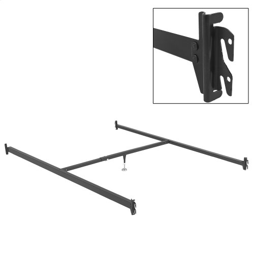 81-Inch Bed Frame Side Rails 81-1H with Hook-On Brackets and Adjustable Center Support for Headboards and Footboards, Full XL - Queen