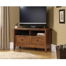 Oak Finish Corner TV Stand