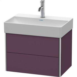 Vanity Unit Wall-mounted Compact, Aubergine Satin Matt Lacquer