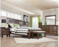 Franco Burnished Oak King Four-piece Bedroom Set