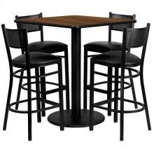36'' Square Walnut Laminate Table Set with 4 Grid Back Metal Barstools - Black Vinyl Seat