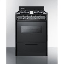 """24"""" Wide Gas Range In Black With Sealed Burners, Oven Window, Interior Light, and Electronic Ignition"""