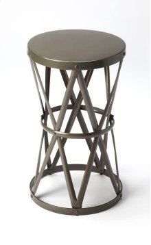 Add eye-catching appeal to your home library or living room with this industrial-inspired end table, showcasing an openwork hour glass shaped metal base with rivet details.