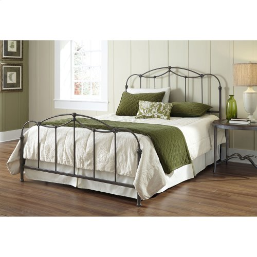 Affinity Bed with Metal Spindle Panels and Detailed Castings, Blackened Taupe Finish, Queen
