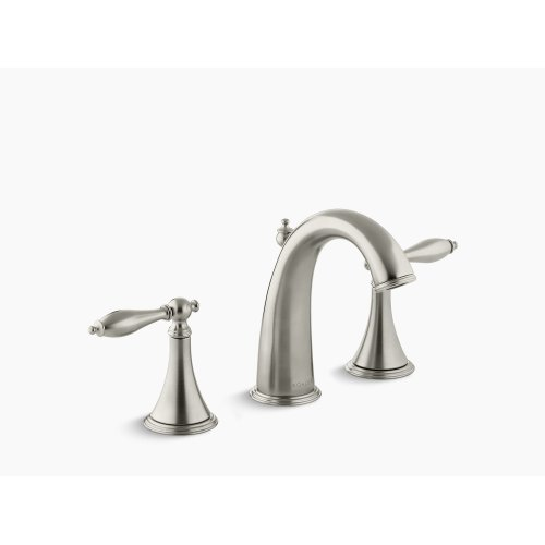 Vibrant Brushed Nickel Widespread Bathroom Sink Faucet With Lever Handles