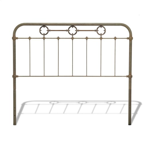 Madera Metal Headboard Panel with Brass Plated Designs and Castings, Rustic Green Finish, Queen