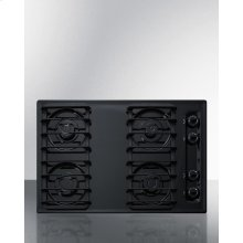 "30"" Wide Sealed Burner Gas Cooktop In Black With Cast Iron Grates and Spark Ignition, Made In the USA"