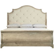 California King-Sized Rustic Patina Upholstered Sleigh Bed in Sand (387)
