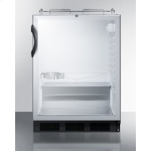 Built-in Undercounter ADA Height Commercially Listed Beer Dispenser With Glass Door, Lock, and Black Cabinet; No Tapping Equipment Included