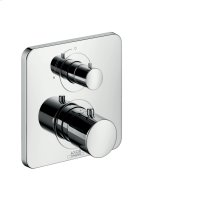 Polished Brass Thermostat for concealed installation with shut-off valve