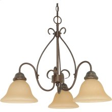 3-Light Small Chandelier in Sonoma Bronze with Champagne Glass