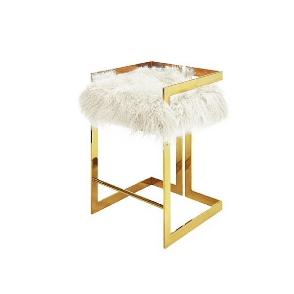Counter Height Brass Stool With White Mongolian Fur Cushion - Seat Height: 27""