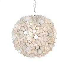 Capiz Shell Lotus Pendant. Single Socket Use One 60w Bulb. 3' Chrome Chain and Canopy Kit. Additional Chain May Be Purchased Upon Request.