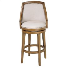 Charleston Swivel Seat Bar Stool with Acorn Finished Wood Frame, Putty Upholstery and Antique Brass Nailhead Trim, 30-Inch Seat Height