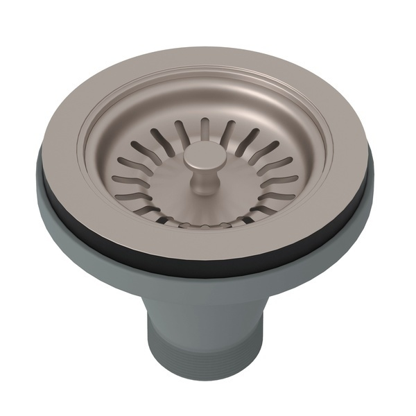 Satin Nickel Manual Basket Strainer Without Remote Pop-Up