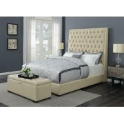 Camille Transitional Cream and Cappuccino Storage Bench Product Image