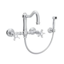 Polished Chrome Italian Kitchen Acqui Wall Mount Column Spout Bridge Kitchen Faucet With Sidespray with Five Spoke Handle