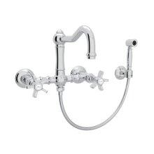 Polished Chrome Italian Kitchen Acqui Wall Mount Column Spout Bridge Kitchen Faucet With Sidespray with Five Spoke Handle