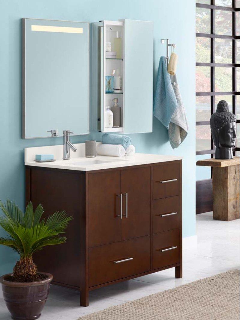 Hidden Additional Juno 36 Bathroom Vanity Cabinet Base In Dark Cherry Doors On Left