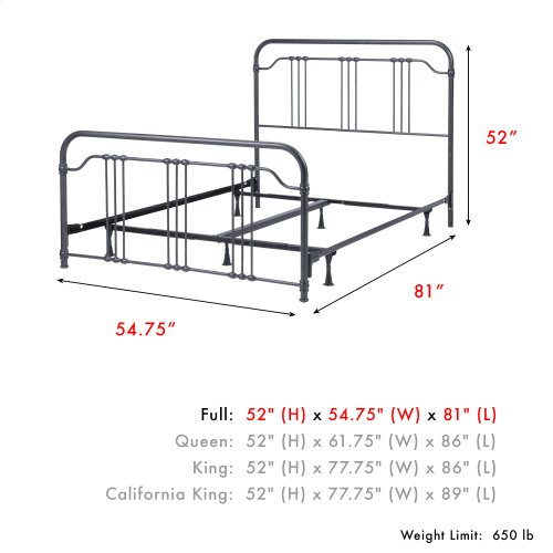 Wellesly Complete Metal Bed and Steel Support Frame with Straight Spindles and Intricately Designed Casters, Marbled Navy Finish, Full