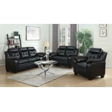 Finley Casual Black Padded Loveseat