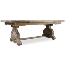 Dining Room Chatelet Refectory Rectangle Trestle Dining Table with Two 22'' Leaves