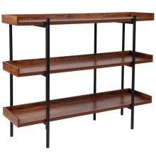Rustic Wood Grain Finish Storage Shelf with Black Metal Frame