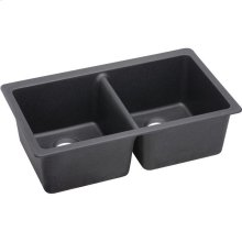 "Elkay Quartz Luxe 33"" x 18-1/2"" x 9-1/2"", Equal Double Bowl Undermount Sink, Charcoal"