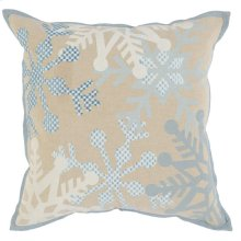 VE Snowflake Flurry Ivory/Blue 18x18