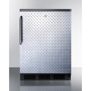 Commercially Listed Freestanding All-refrigerator for General Purpose Use, Auto Defrost W/diamond Plate Wrapped Door, Tb Handle, Lock, and Black Cabinet -