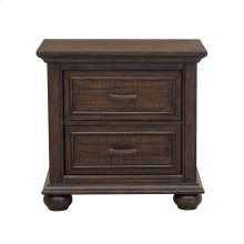 Paneled Wooden 2 Drawer Nightstand