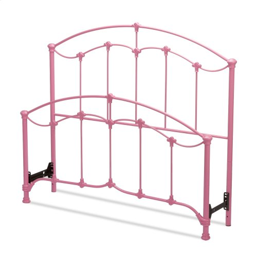 Amberley Kids Bed with Metal Duo Panels and Floral Medallions Accents, Pastel Pink Finish, Full