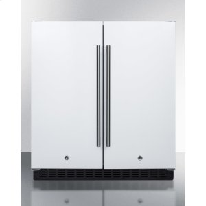 Frost-free Side-by-side Refrigerator-freezer for Built-in or Freestanding Use In White Finish With Locks, Stainless Steel Handles, and Digital Controls -