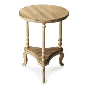 This beautiful end table is constructed of wood solids and veneers. The perfect piece to accent a sofa or your favorite side chair, this round accent table is filled with character. The curvy triangular stretcher lower shelf gives you additional storage s