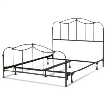 Affinity Complete Metal Bed and Steel Support Frame with Spindle Panels and Detailed Castings, Blackened Taupe Finish, King