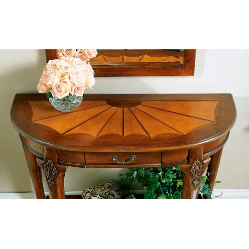 Made from selected solid woods. Choice cherry veneers with maple and walnut veneers inlay. Marquerty design with burnished pattern lines. One working drawer and lower shelf. Brass plated hardware.