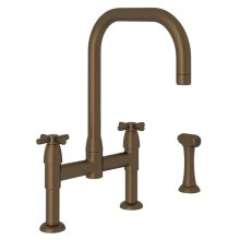 English Bronze Perrin & Rowe Holborn U-Spout Bridge Kitchen Faucet With Sidespray with Cross Handles