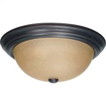 3-Light Large Dome Flush Ceiling Light Fixture in Mahogany Bronze Finish with Champagne Linen Glass