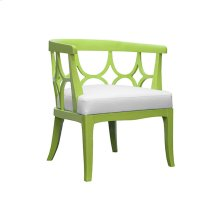 Barrel Back Lime Green Lacquer Chair With White Linen Cushion - Seat Height 17.5""