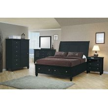 Sandy Beach Black Queen Sleigh Bed With Footboard Storage