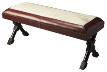 This impeccable bench has the versatility to blend with a range of different decor. Crafted from select hardwood solids and wood products, it features top grain saddle stitched leather. Its black X leg braces provide strength and stability, while contribu