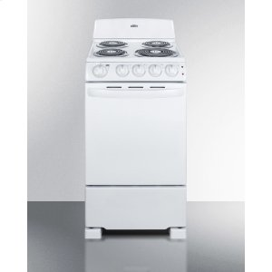 "Summit20"" Wide Electric Range In White Finish With Coil Burners"