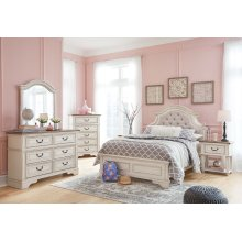 Realyn Chipped White Full Bedroom Set: Includes Full Bed, Nightstand, Dresser & Mirror