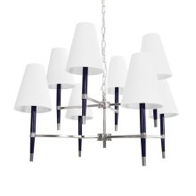 Two Tier Chandelier In Nickel and Navy with Eight White Shades